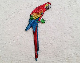 Parrot Bird Animal New Sew / Iron On Patch Embroidered Applique size 6.2cm.x13cm.
