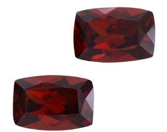 Mozambique Red Garnet Loose Gemstones Set of 2 Cushion Cut 1A Quality 6x4mm TGW 1.30 cts.