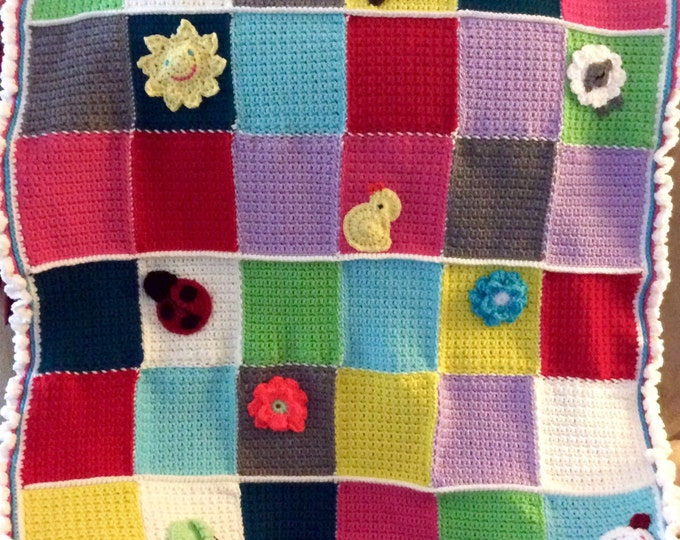 On Sale Crochet Baby Blanket, Tummy Time or Tactile Activity Mat for Babies