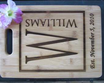 Monogrammed Bamboo Personalized Cutting Board // Custom Cutting Board / Personalized Wedding Gift / Wedding Gift for Bride / FREE ENGRAVING
