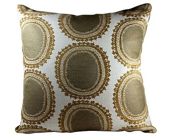 Suzani Accent Pillow Cover with Camel Mohair, 20 x 20
