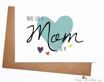 Cute Mothers Day Card ∙ Mothering Sunday ∙ Stepmum Card ∙ Stepmom Card ∙ Mother-in-Law Card ∙ Card for Her ∙ You're Like a Mum/Mom to Me