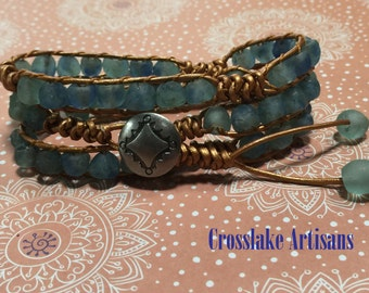 Copper leather 3-wrap bracelet with recycled glass