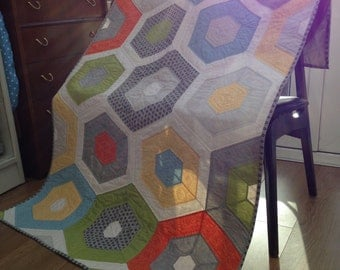 Handmade Hexagon Patchwork Lap Quilt Retro Colours