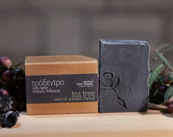 Face soap tea tree-charcoal for oily or acne prone skin organic