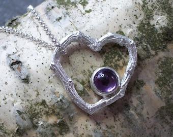 OOAK Amethyst and Sterling Silver Twiggy Heart Pendant, Amethyst Pendant, Silver Twig Heart Pendant