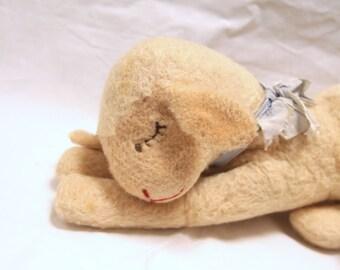 "Vintage Steiff Cream Sleeping Lamb Sheep Wool Plush Toy 17"", Steiff plush animal, Made in germany, collector's stuffed animal/lamb/sheep"