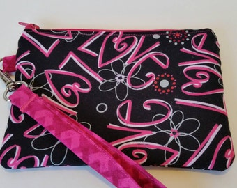 Love is in the air, wristlet, zipper pouch