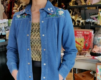 1970s Boho Embroidered Denim Shirt Jacket with Gingham Lining XS - S
