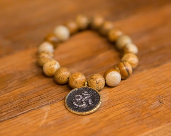 Stress Relieving Picture Jasper with Gold and Gunmetal Pave Om