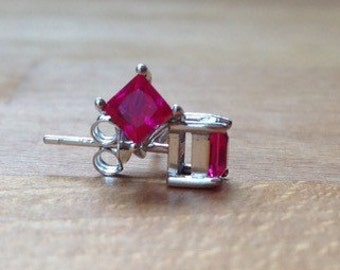 Square pigeon ruby sterling silver stud minimalist earrings