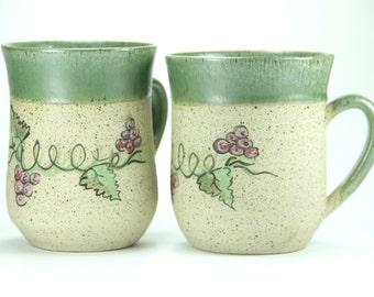 Couple mug, ceramic mug, Stoneware mug, stoneware cup, oversized coffee mug, latte mug, clay mug, ceramic travel mug, farmhouse style, green