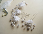 Floral Pins, Small Bridal Hair Accessories, Hairpins, Pearl Pins, Bohemian Boho Hair, Silver Pins