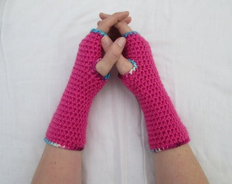 Adult ladies pink arm warmers, wrist warmers - handmade gifts, crocheted fingerless gloves, armwarmers, wristwarmers, gifts for women
