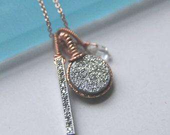 Rose Gold Silver Druzy Charm Necklaces/ Wedding Party Gift Ideas/Silver Druzy / Personalized Druzy Necklaces/ Sparkling Druzy Jewelry
