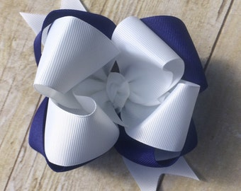 Kentucky hair Bow, royal blue and white hair bow, football, photo shoot, M2M