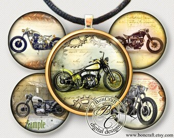 """Vintage Steampunk Bobber Motorcycles - bottle cap images - 1'' circles, 25mm, 30mm, 1.25"""", 1.5"""" for Jewelry Making, BUY 2 GET 1 FREE"""