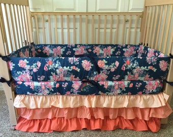 Floral Baby Bedding - Flower Baby Bedding - Custom Crib Bedding - Baby Crib Bedding - Baby Crib Set - Custom Baby Bedding - Crib Bedding