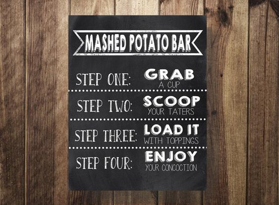 Potato Bar Sign, Mashed Potatoes Sign, Make Your Own Loaded Potato Printable, Wedding Reception, Sweet Sixteen, Birthday Party, Potato Bar