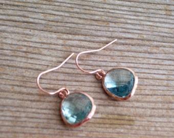 Aquamarine Glass Earrings, Rose Gold Earrings, Minimalist Earrings, Bridal Jewelry, Something Blue, Everyday Earrings, Simple Earrings