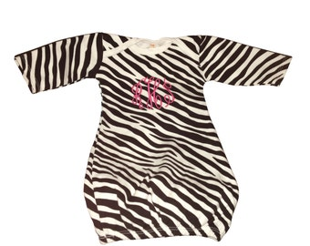 Monogrammed baby sleeper gown. Animal print, Cheetah or Zebra.