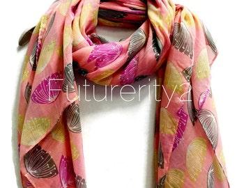 Dandelion Pink Scarf / Spring Sumner Scarves / Women Scarves / Gifts For Her / Accessories / Handmade / Gifts For Mother