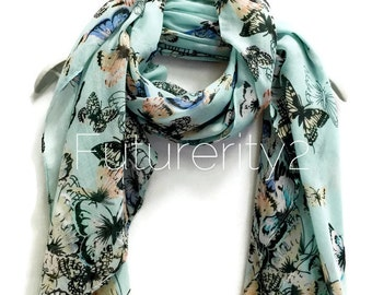 Butterfly Light Blue Scarf / Spring Scarf / Summer Scarf / Gifts For Her / Women Scarves / Accessories / Handmade
