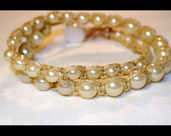 SALE NOW 15% OFF Two wrap tan henp pearl bracelet