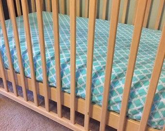 Crib sheet, Toddler Sheet, Teal and gray Baby sheet, Nursery fitted sheet