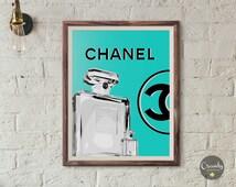 Chanel perfume bottle, chanel grey, Coco Chanel, chanel turquoise, chanel inspired, chanel perfume, chanel wall decor, fashion print