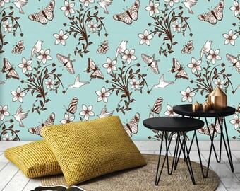 butterflies, birds and flowers PEEL & STICK Repositionable  Fabric Wallpaper