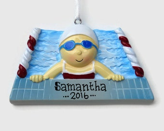 SHIPS FREE - Swimmer Girl Personalized Ornament - Swim Team - Swimming Lessons - Hand Personalized Christmas Ornament