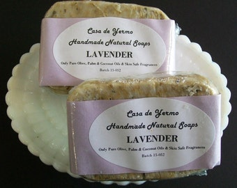 Lavender - 2 Bar Pack. Olive, Palm and Coconut Oils and Skin Safe Fragrances. (Use Coupon Code Freeshipping2)