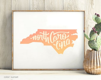 North Carolina print - North Carolina poster - North Carolina art - North Carolina wall art