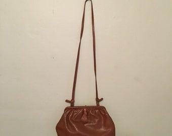 vintage camel brown leather crossbody bag hobo satchel bag