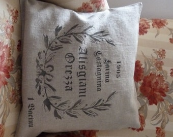Cushion cover, Washed raw linen, printed  like faux-vintage corsican grain sack.