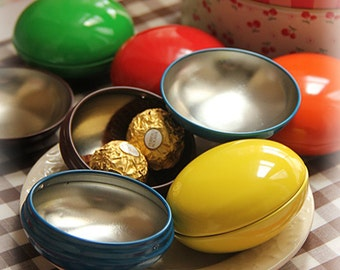 10 pcs M&Ms-shape Tins - Colorful round metal disc cases - Gifts Packaging, Party, Wedding Favors