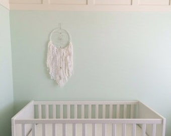 Pink and White Dreamcatcher, Girl Nursery Decor, Girl Room Decor, Pink and White Baby Shower, First Birthday Party Decor