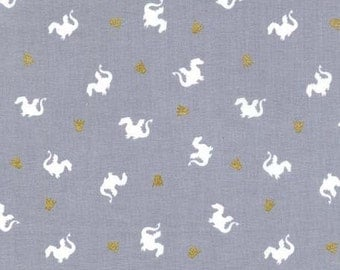 Baby Dragon in Grey, Magic! Collection by Sarah Jane for Michael Miller Fabrics