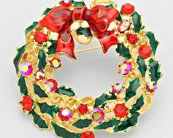 Christmas Wreath Crystal Enameled Brooch