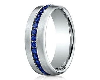 blue sapphire wedding band for men mens blue sapphire band white gold mens band