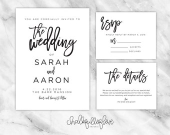 PRINTABLE Hand Lettered Wedding Invitation // Simple Brushstrokes // The Wedding Collection by Chalkfulloflove