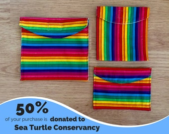 Rainbow Set of 3 Reusable Snack Bags with PUL Fabric