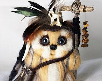 Handmade Needle-Felted Wool Ewok *Logray*