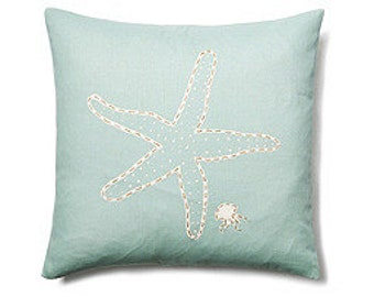 Starfish Hand Painted Decorative Pillow -Free Shipping!
