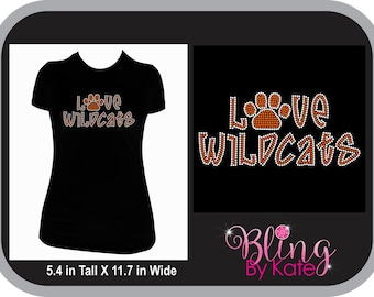 School Spirit Wear - Love Wildcats Paw - Spirit Wear - Customizable to Your Team Colors in Your Choice of Rhinestones