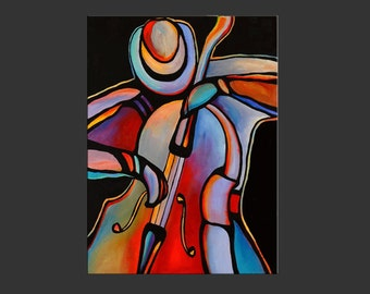 "30"" x 40"" Original Acrylic Paintings Abstract Jazz Musician Art Bass Player by Mike Daneshi"