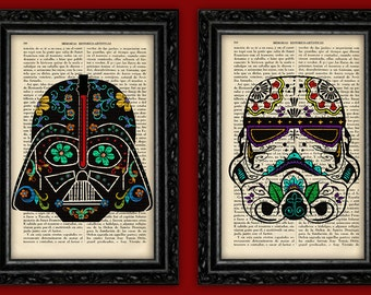 Sugar Skullprints STAR WARS PACK 2 Dath Vader & Stormtrooper Prints Sugar skulls Star Wars Prints Birthday Geek Decor Gift Art Decor Nerdy