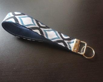 Blue and black lattice keychain/keyfob/wristlet
