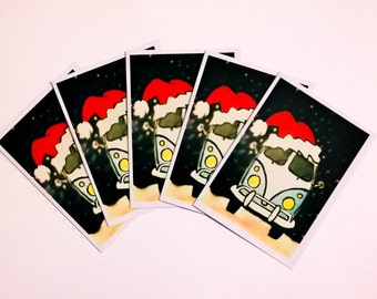 5 'Santa Campers' greeting cards